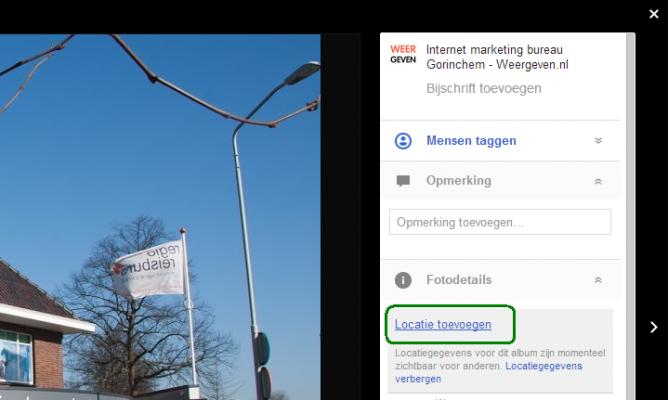 Google+ geotag functie