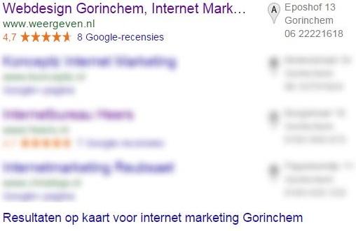 Zoekmachine optimalisatie Gorinchem met als voorbeeld de zoekwoorden internet marketing Gorinchem